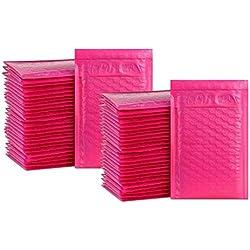 iMBAPrice - # 000 - Lot de 50 enveloppes - 10,2x 20,3cm - Couleur rose vif - Autoadhésives - Enveloppes à bulles rembourrées