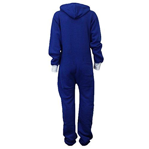 Damen Superman Jumpsuit mit Kapuze in der Farbe Königsblau - 3