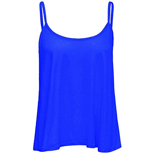 Janisramone Women Plain Swing Top Sleeveless Flared Cami Strappy Vest Tank Top Königsblau