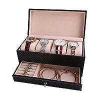 MMFHG Jewelry Box Watch Holder And Jewelry Organizer Box Chic Storage Drawer Case Black Pu Leather Gift For Men/Women