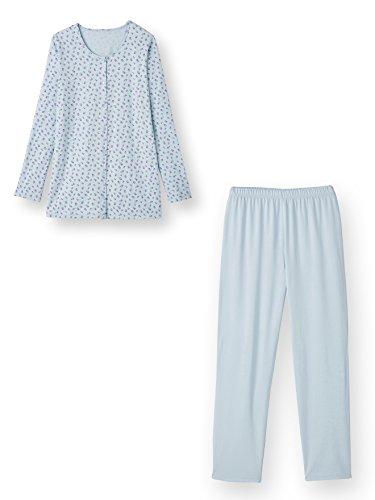 Lingerelle - Pyjama en maille, entièrement boutonné Imprime bleu