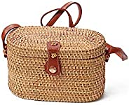 Straw Bag,Woven Bag,Women'S One-Shoulder Woven Crossbody Bag Rattan Bag Diagonal Cross Bag Retro Hand-Wove