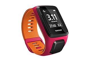 Tom Tom Runner 3 GPS Running Watch with Heart Rate Monitor - Small Strap, Dark Pink/Orange