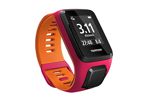 Tom Tom Runner 3 GPS Running Watch with Heart Rate Monitor – Small Strap, Dark Pink/Orange