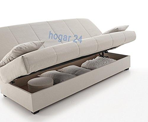 sofa cama clic clac con arc n de almacenaje gris muebles