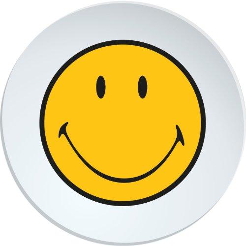 Zak Designs 6187-0311 Assiette Ronde Diamètre: 25 cm Mélamine Blanc Smiley