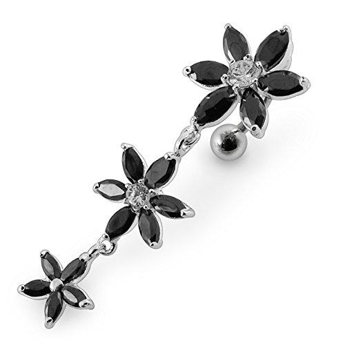 Black Crystal Stein Triple Flower Design Sterling Silber Bauch Bars Piercing