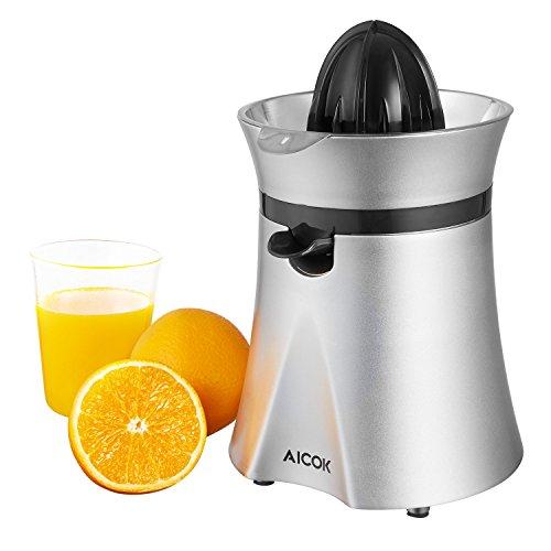 Aicok Presse Agrumes Électrique en Acier  40W,  Presse Fruits Automatique avec Cônes Interchangeable Bec Verseur Anti goutte, Filtre Silencieux sans BPA, Argent