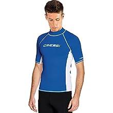 Cressi Men's Rash Guard UV Sun Protection (UPF) 50+ Short Sleeve, Blue (Blau/Weiß), XXXL/7