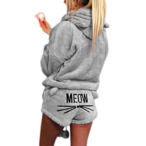ZChun Frauen Mädchen Plus Size Winter Verdicken Pyjamas Set Nette Katze Meow Gestickte Kurze Hosen Langarm Mit Kapuze Ohren Sweatshirt Warme Nachtwäsche S-5XL (M, Grau)