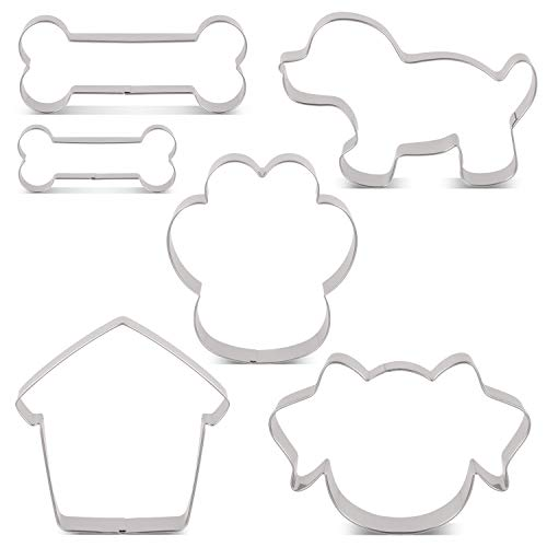 Cutter Ausstechformen (KENIAO Hundeknochen/Hundekekse Ausstechformen für Hausgemachte Hunde Leckerlies Keksausstecher Set - 6 Stück - Hundegesicht, Hund Pfote, Hündchen, Hundehütte und Hundeknochen Ausstecher - Edelstahl)