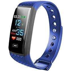 Montre Intelligente Activité de Remise en Forme Sportive Moniteur de fréquence Cardiaque, Calories, IP67 étanche, Compatible Android et iOS, Moniteur de fréquence de la Pression artérielle, Bluetooth