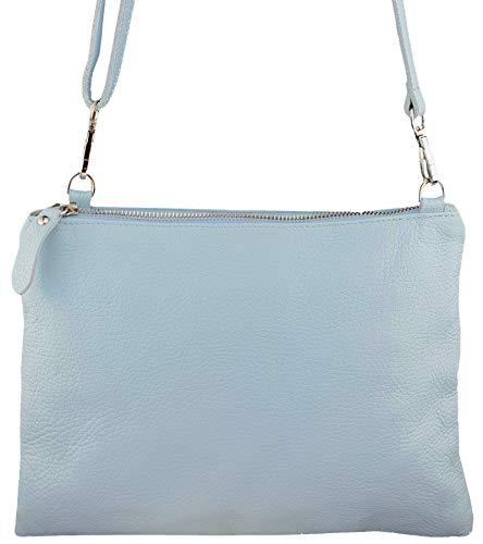 Freyday Echtleder Damen Umhängetasche Clutch kleine Tasche Abendtasche 28x31cm (Hellblau)