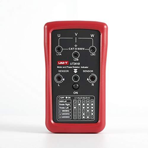 UNI-T Dreiphasen-Sequenz- und Motordrehzahlanzeige Digital-Multimeter Magnetfeld-LED-Drehtester, rot und grau -