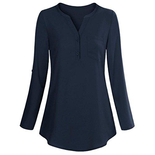 iHENGH Damen Schaltflächen T-Shirt, Frauen Sommer Langarm Roll-up Top Casual V-Neck-Taste Layered Blusen