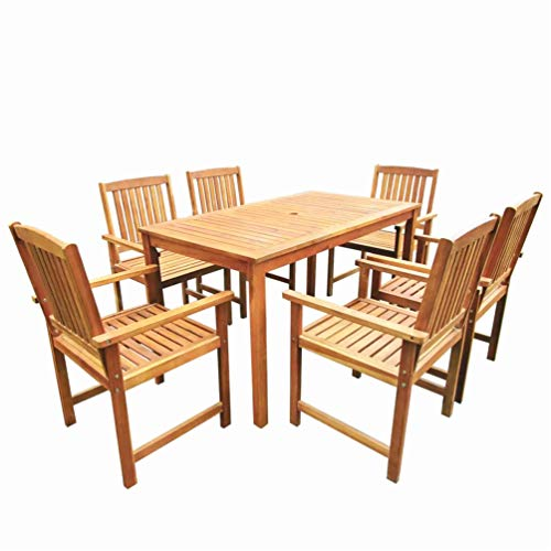 BIGTO Wooden Garden Furniture Sets Solid Acacia Wood Outdoor Folding Garden Table and Chairs Set of 6 (B)