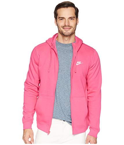 Nike Herren Sportswear Full Zip Fleece Club Kapuzenjacke, Rot (Watermelon/White), L - Rote Fleece Kapuzenjacke