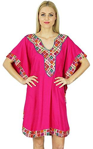 Bimba Frauen Short Rayon Benutzerdefinierte Kaftan mit Kimono-Ärmeln Kaftan Boho Kleid Coverup