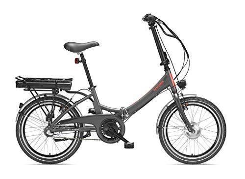 Telefunken E-Bike Klapprad Elektrofahrrad Alu, grau, 7 Gang Shimano Kettenschaltung - Pedelec Faltrad leicht, 250W und 10,4 Ah/36V Lithium-Ionen-Akku, LCD-Display, Reifengröße: 20 Zoll, Kompakt F803