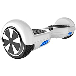 "Double Hunter Hoverboard 6.5"", Balance Board Scooter Eléctrico,Patinete Eléctrico Self Balancing, con LED, 2 * 350W, UL Certificado (White)"