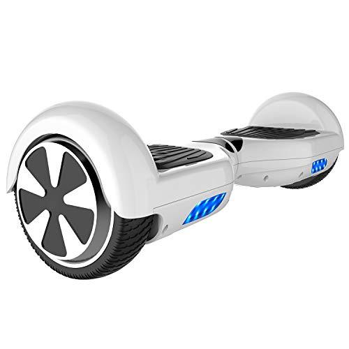 Double Hunter Hoverboard 6.5', Balance Board Scooter Eléctrico,Patinete Eléctrico Self Balancing, con LED, 2 * 350W, UL Certificado (White)