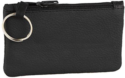Borsellino portachiavi / portamonete in pelle bovina (interamente in pelle), modello 3500, colore:Nero