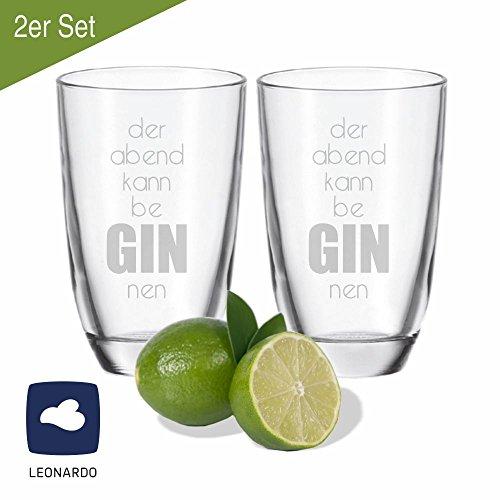 2er SET Leonardo GIN-Gläser der Abend kann be GIN nen - Geschenkidee - lustiges Weihnachtsgeschenk - originell - Geburtstagsgeschenk - Party