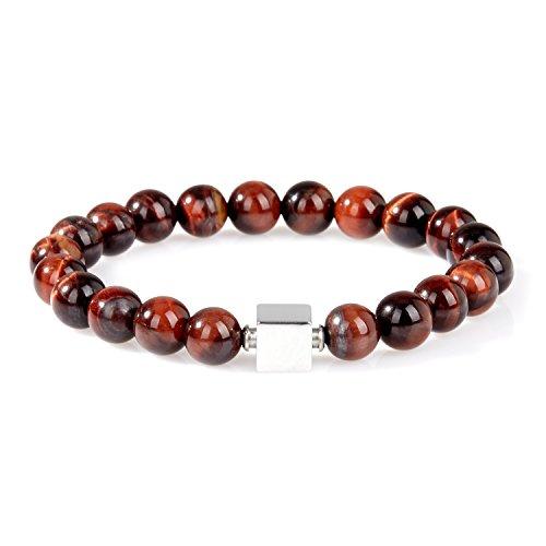 URBANSTYLES - Perlenarmband Schmuck - Armband Buddha Energiearmband Herren Universal - Shamballa 8 mm Naturstein Perlen Halbedelsteine - Quadratische Logo-Perle - Braun ca. 20 cm Tiger Auge