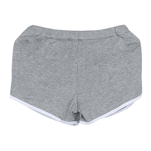 OVERMAL Pantalon d'été Femmes Sports Shorts Gym Workout Baudrier Skinny Yoga court Gris