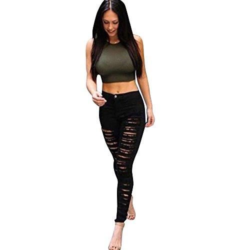 FORH Damen Skinny Röhrenjeans Jeanshose zerrissene Denim jeans high waisted Straight Leg jeans Dünn Strecken Jeans Slim fit Bleistift Hosen Relaxed biker jeans (XL, Schwarz)