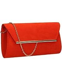 CASPAR Sac à main de soirée Clutch en satin pour femme - pochette de soirée - plusieurs coloris - TA278, Couleur:bleu foncé
