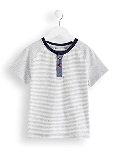 RED WAGON Jungen T-Shirt mit Streifenmuster, Grau (Grey), 122 (Herstellergröße: 7 Jahre)