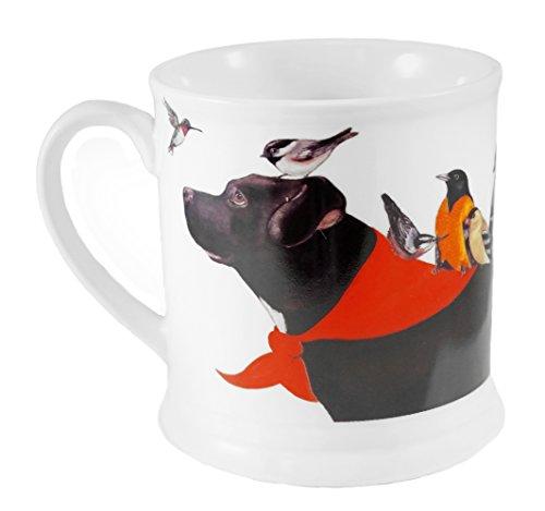 Schwarz lab mit Vögel Dekor Kaffee Tasse