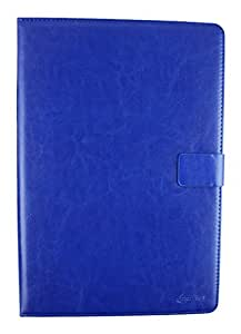 Emartbuy® PU Leather Multi Angle Executive Folio Wallet Cover for Odys Prime (Size 10-11 inch_Blue Plain)