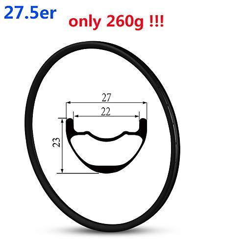 Yuanan 650B 260g Super Light Poids Jante Carbone Tubeless Ready 27mm Largeur 23mm de...