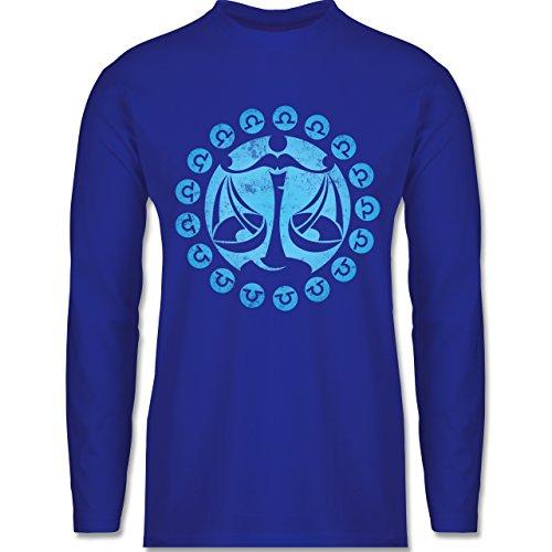 Shirtracer Symbole - Tierkreiszeichen Waage - Herren Langarmshirt Royalblau
