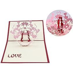 """MUROAD Kreative 3D Grußkarte""""Liebender Kuss""""- Geburtstagskarte klappkarten,3D Pop Up Karte,valentinstag karte,Glückwunschkarte, Urlaubskarte, Dankeskarte,das beste Geschenk für dich(Kuss der Liebe)"""