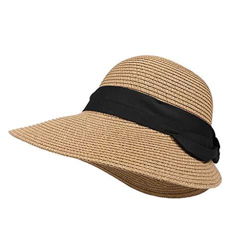 ZXPzZ Sommerhut Sun Beach Strohmütze Faltbare Breite Krempe Gartenarbeit Wandern Hut Mesh Hut Breite Krempe Stroh Cowboy Hut (Color : Brown)