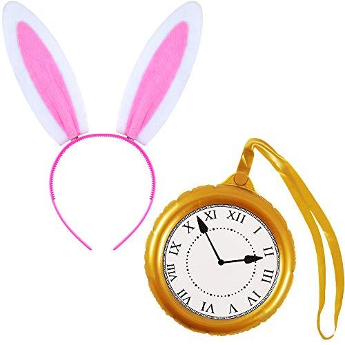 German Trendseller® Wunderland - Hase - Kostüm - Set - Deluxe ┃ Süße Hasenohren + Goldene Premium Uhr ┃ Karneval - Party ┃ Rabbit Wonderland - Set