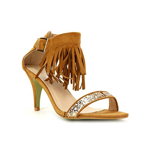 Cendriyon Sandale Simili Camel CINK Chaussures Femme Caramel