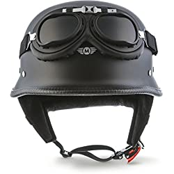 "MOTO HELMETS D-33 Set de casco ""Army Snow"", color gris y blanco, Casco jet de estilo aviador para motos chopper, estilo retro, estilo aviador, tallas S-XXL (55-64 cm)"