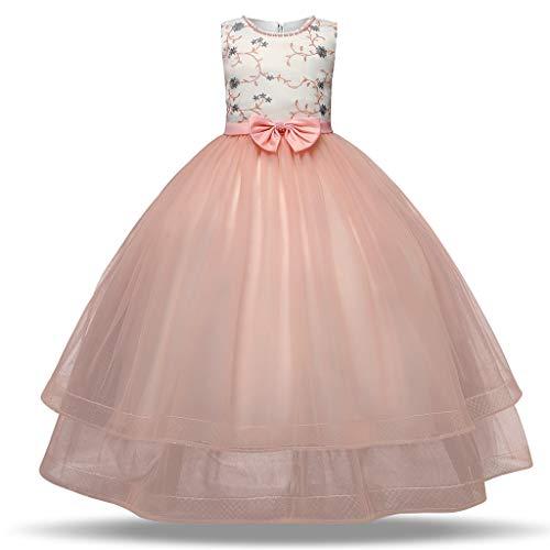 Sanahy Brautjungfernkleid Brautjungfernkleid Langarm Spitze Abendkleid 3-10 Jahre -