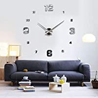 Large Diy Quartz 3d Wall Clock Acrylic Sticker Wall Clock - Silver Special