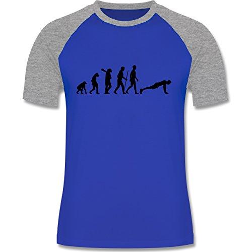 Evolution - Liegestütze Evolution - zweifarbiges Baseballshirt für Männer Royalblau/Grau meliert