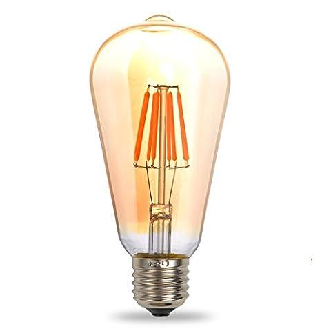 THINKMORE Ampoule LED E27 Filament ST64 Blanc Chaud 2200K 220 VAC 8W Équivalent 75W Ampoule à Incandescence