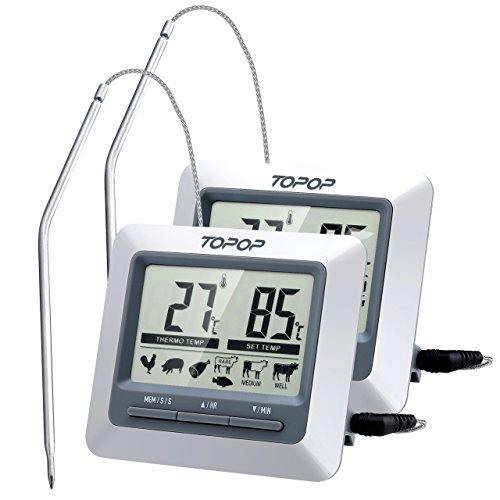 TOPELEK [2 Pezzi] Termometro Sonda con Timer Cucina,Termometro da Cucina,Termometro per Alimenti Instant Leggere Termometro per Barbecue, BBQ, Griglia, Vino, Latte, Cibo, Carne, Acqua Bagno