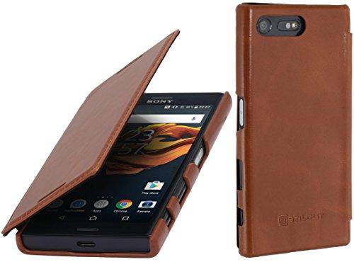 StilGut Book Type Case, Hülle Leder-Tasche für Sony Xperia X Compact. Seitlich klappbares Flip-Case aus Echtleder für das Original Sony Xperia X Compact, Cognac