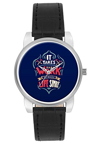 Women's Watch, BigOwl Work Hard (Blue)Motivational Typography Designer Analog Wrist Watch For Women - Gifts for her dials