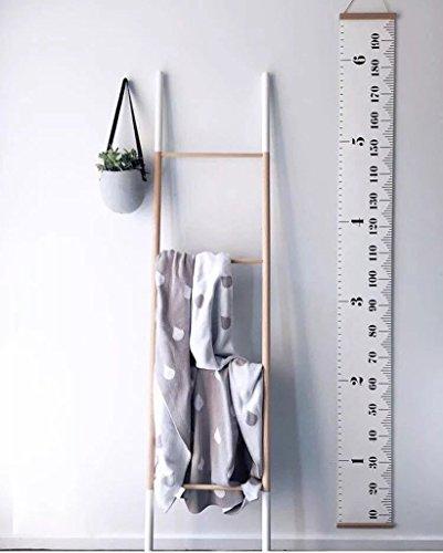 Baby Leinwand und Holz Roll-up Höhe und Wachstum Diagramm Deko für Kinderzimmer Babyzimmer von 10 bis 190cm (Personalisierte Baby Wachstum Diagramm)
