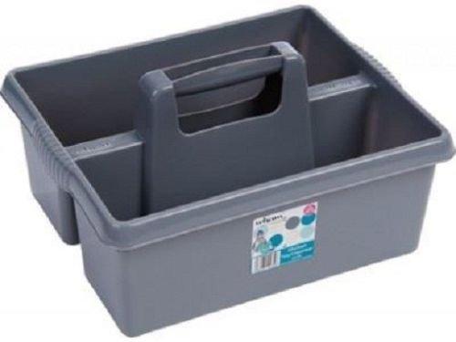 Kunststoff Handlicher Küche Reinigung Tool Box Utility Caddy Lagerung Tidy Organizer Tote Tray großen Starke Reinigungsmittel tragen Tablett Korb Boxen silberfarben/grau (Utility-organizer-box)